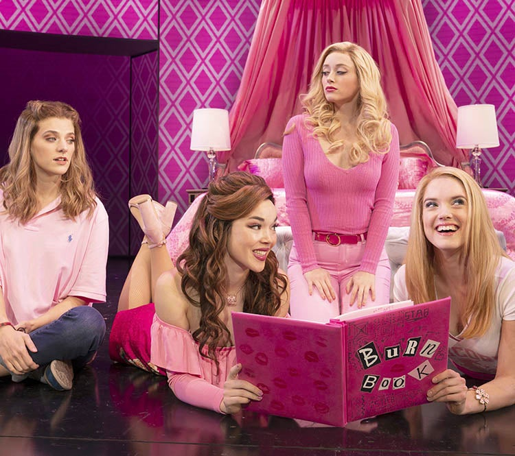 Pictured (L-R): Danielle Wade (Cady Heron), Megan Masako Haley (Gretchen Wieners), Mariah Rose Faith (Regina George), and Jonalyn Saxer (Karen Smith) in the National Touring Company of Mean Girls. © 2019 Joan Marcus.